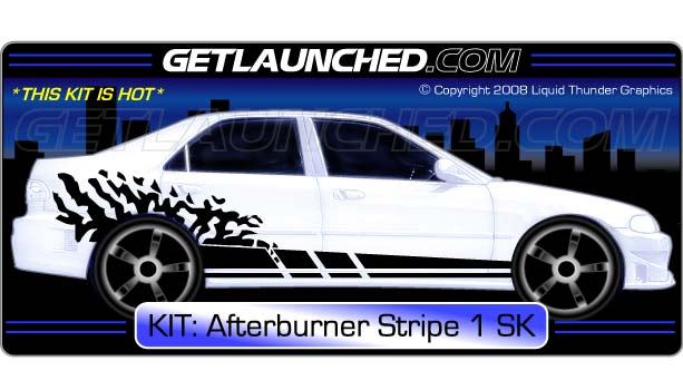 Afterburner stripe car decals