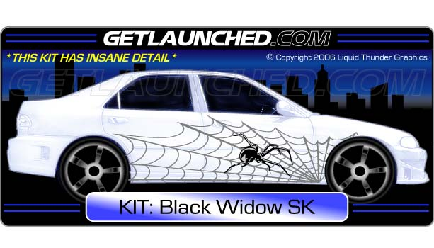 Black widow spider car decals 1