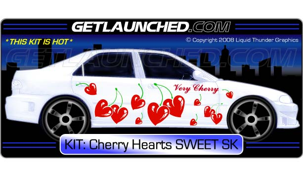 Sweet Cherry Hearts Car Decals