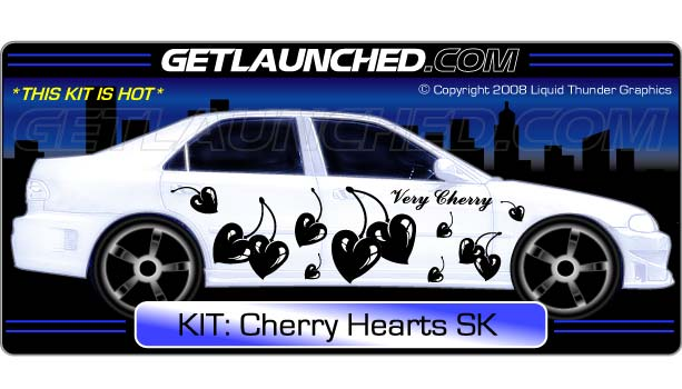 Cherry Hearts Car Decals