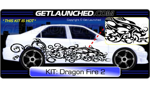 Dragon Fire Car Decals 2
