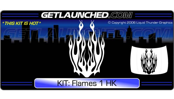 Flames 1 Hood Graphic