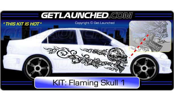 Flaming Skull Decals 1