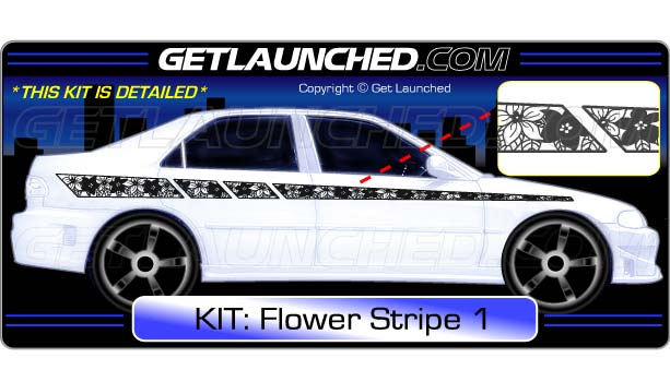 Flower Racing Stripe Decals 1