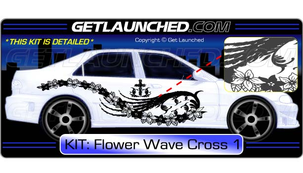 Flower Wave Cross Decals 1