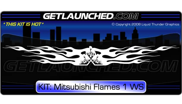Mitsubishi Flames Windshield Decal 1
