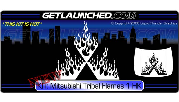 Mitsubishi Tribal Flames 1 Hood Graphic