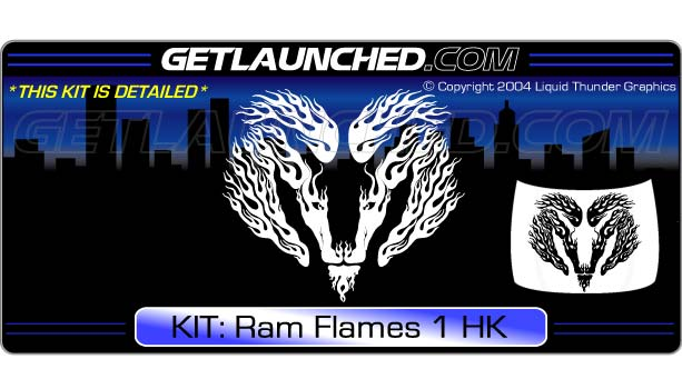 Ram Flames Hood Graphic 1