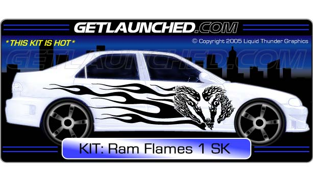 Ram Flames Car Graphics 1