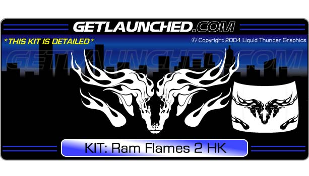 Ram Flames Hood Graphic 2