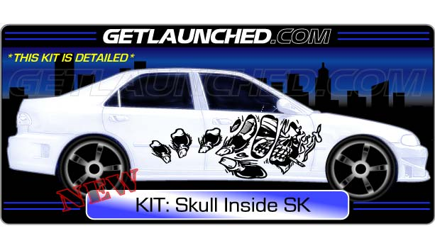 Inside Skull Car Decals