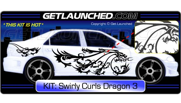 Dragon Swirly Curls Car Decals 3