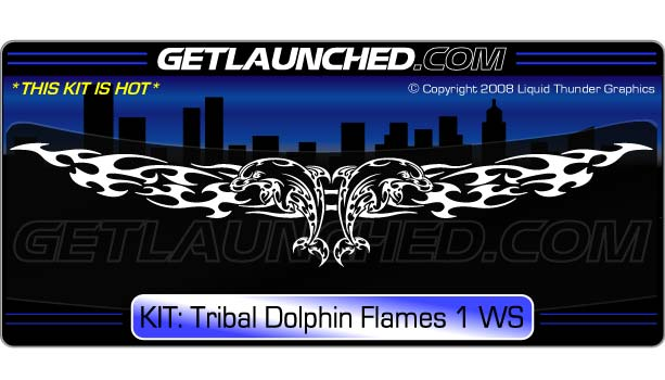 Tribal Dolphin Windshield Decal Flames 1