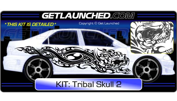 Tribal skull car decals 2
