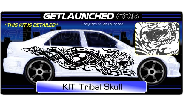 Tribal Skull Car Decals